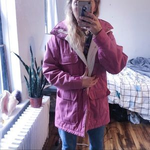 Magenta Woolrich down jacket with hood